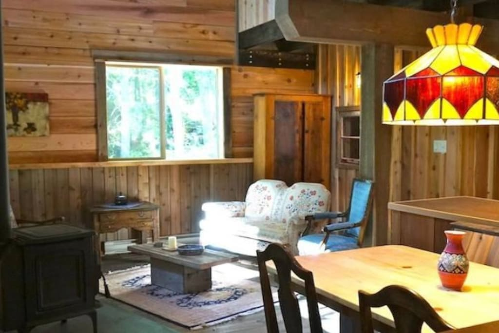 Spacious Living area with wood stove