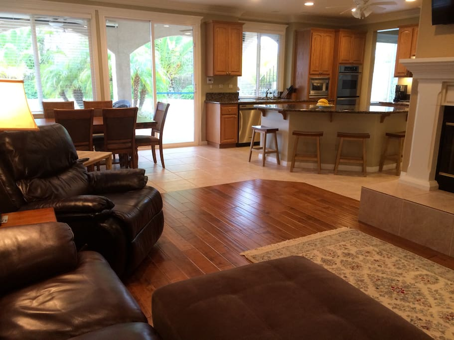 Kitchen opens to back yard & Living Room