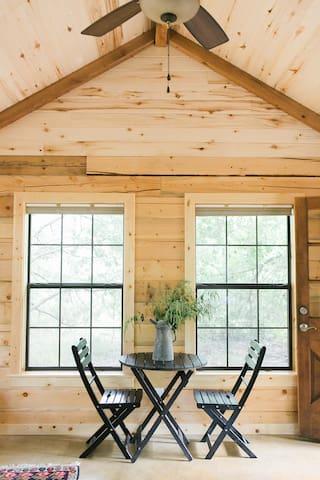 Seating area in quaint cabin