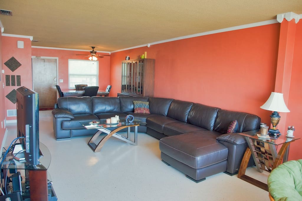 Sectional leather sofa, probably the most comfortable couch you will ever sit on ;)