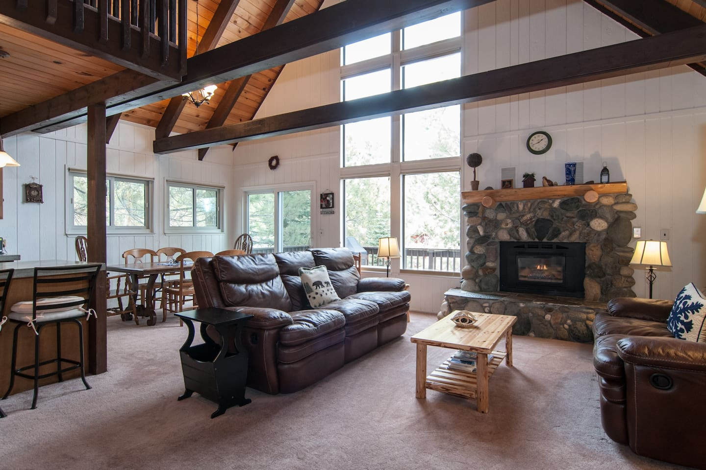 Open layout, exposed beams throughout, perfect for entertaining.
