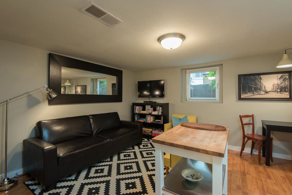 Flat-Screen Television, Convertible Sofa/Bed, well stocked Bookshelf as well as Puzzles and Games