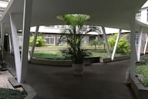 Silencioso jardim interno do edifício. Silent indoor garden.