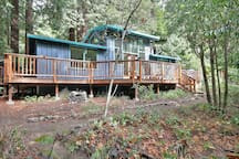a view of the house standing right along the creek; the deck wraps three-quarters of the way around the cabin.
