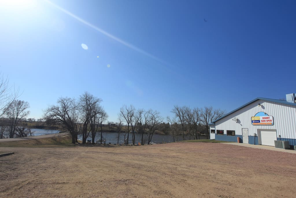 The campground where the cabins are built on is beside Elm Lake.