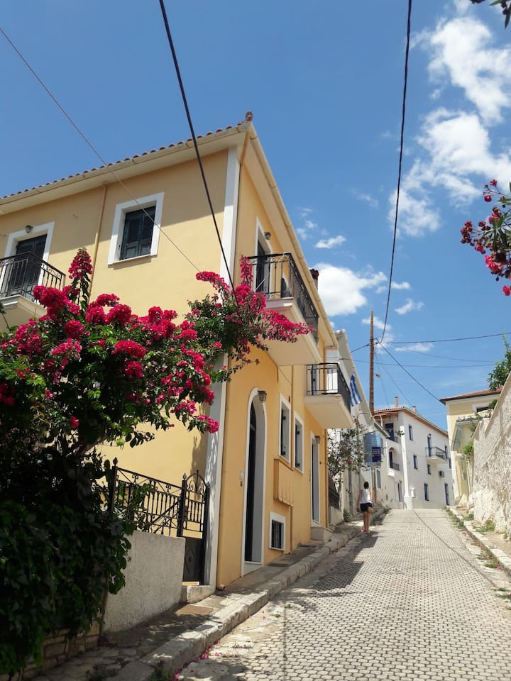 Our house is situated on a small coble street in the center of Galaxidi.