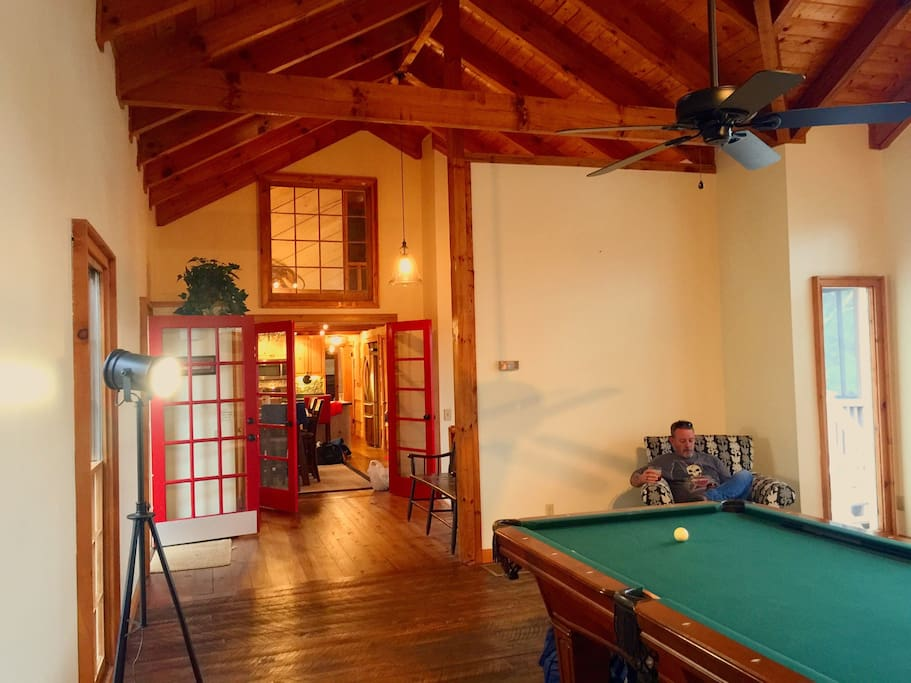 Billiard Room with my Father enjoying a drink - it is a beautiful cabin!