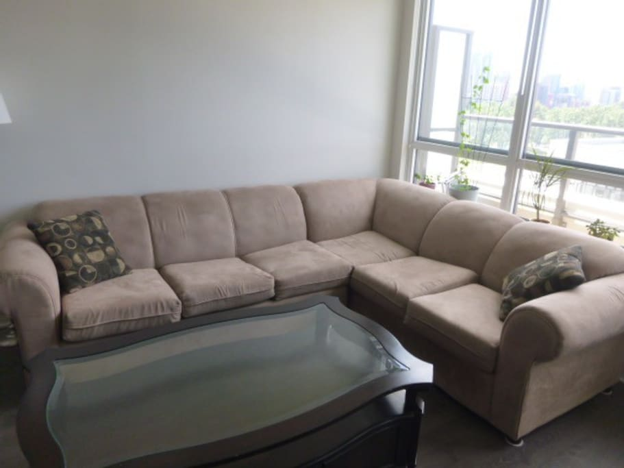 Living Room - Section Pullout Couch, Fits 2 People Comfortably