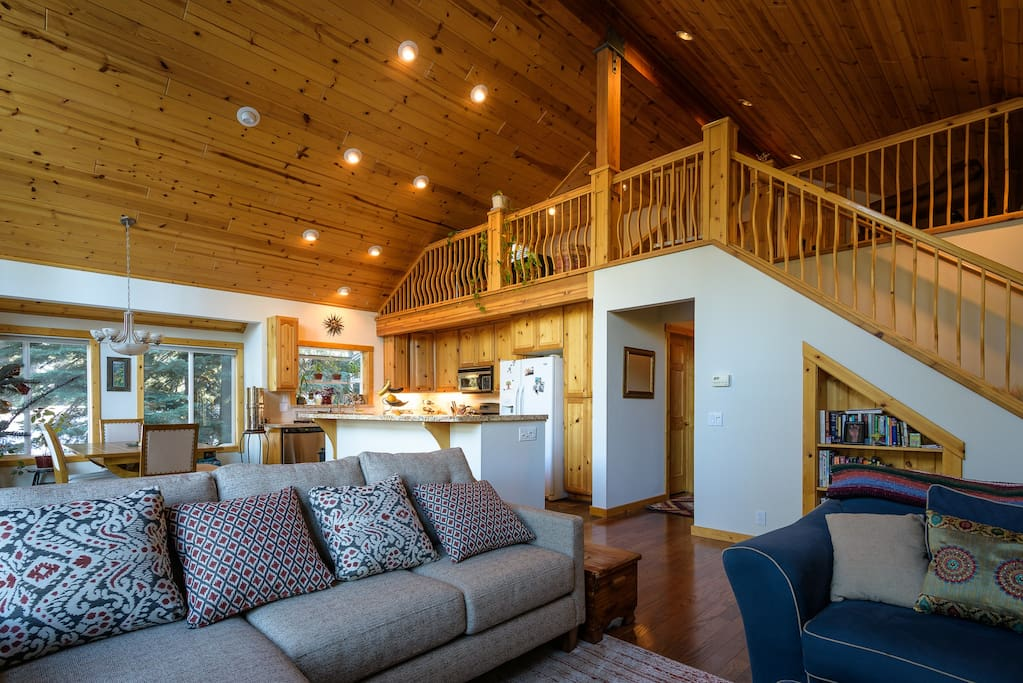 Beautiful great room with gas fire place and loft.