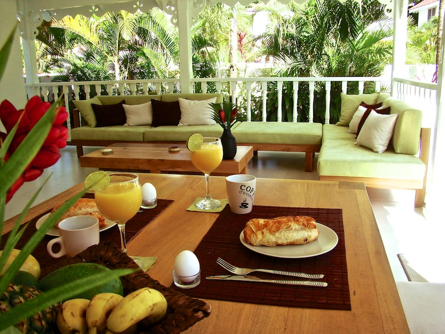 Have Breakfast is  lush tropical garden