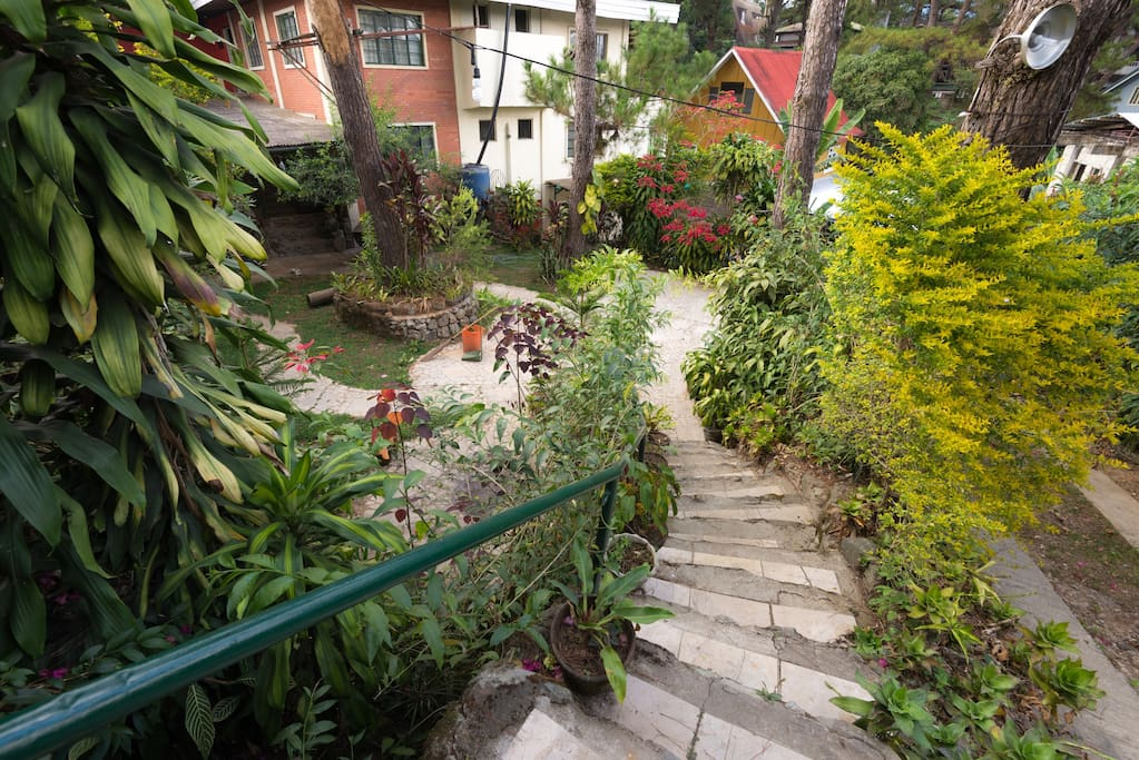 From the gate, walk down these rustic steps, through the garden, into your two-bedroom unit in Baguio.