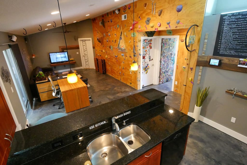 Concrete floors throughout, shared kitchen/dining/living/outdoor spaces, 600sf deck w/fire-pit, high speed wifi