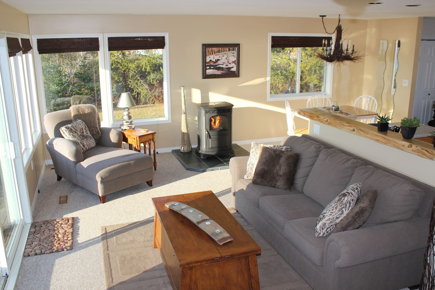 The living room in the spring time with the pellet stove burning creating ambiance and coziness
