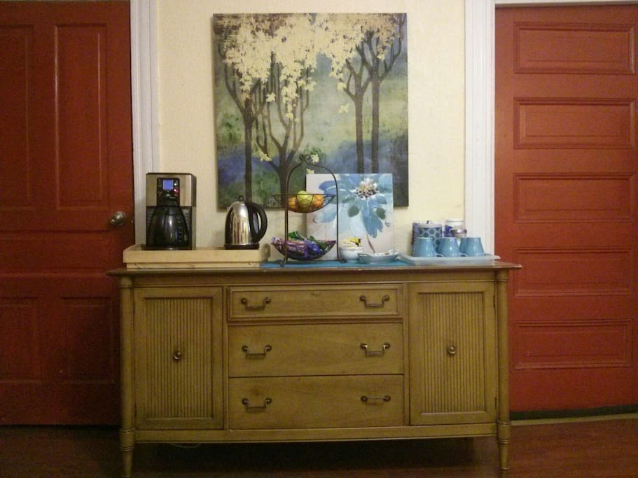 In the morning, help yourself to coffee/tea and a light breakfast at our coffee bar.