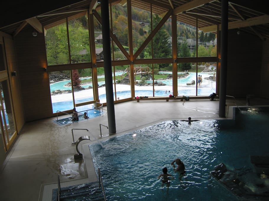 Large heated indoor pool with jacuzzi beds linked to outdoor pools and jacuzzi. Full beauty treatment area and sauna/steam room available.