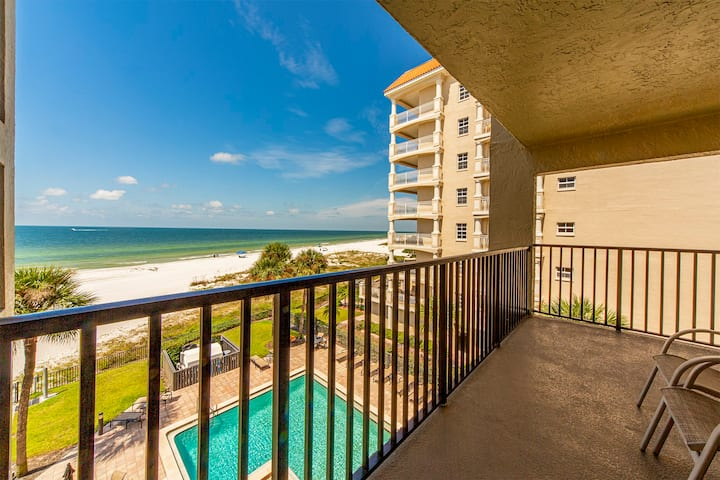 Quiet Stretch of Indian Shores Beach - Direct Beachfront Balcony - Gulf Views for Miles - Free WiFi - The Shores - #403 The Shores Condo