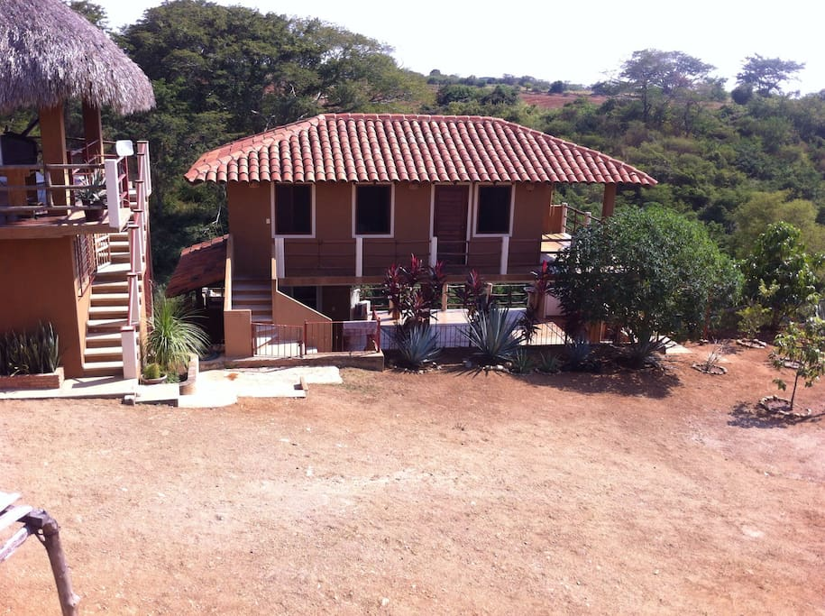 Casa Calandria is 2 levels; with the bedrooms upstairs and a common area / cooking downstairs