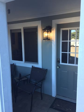 Front entry with porch light