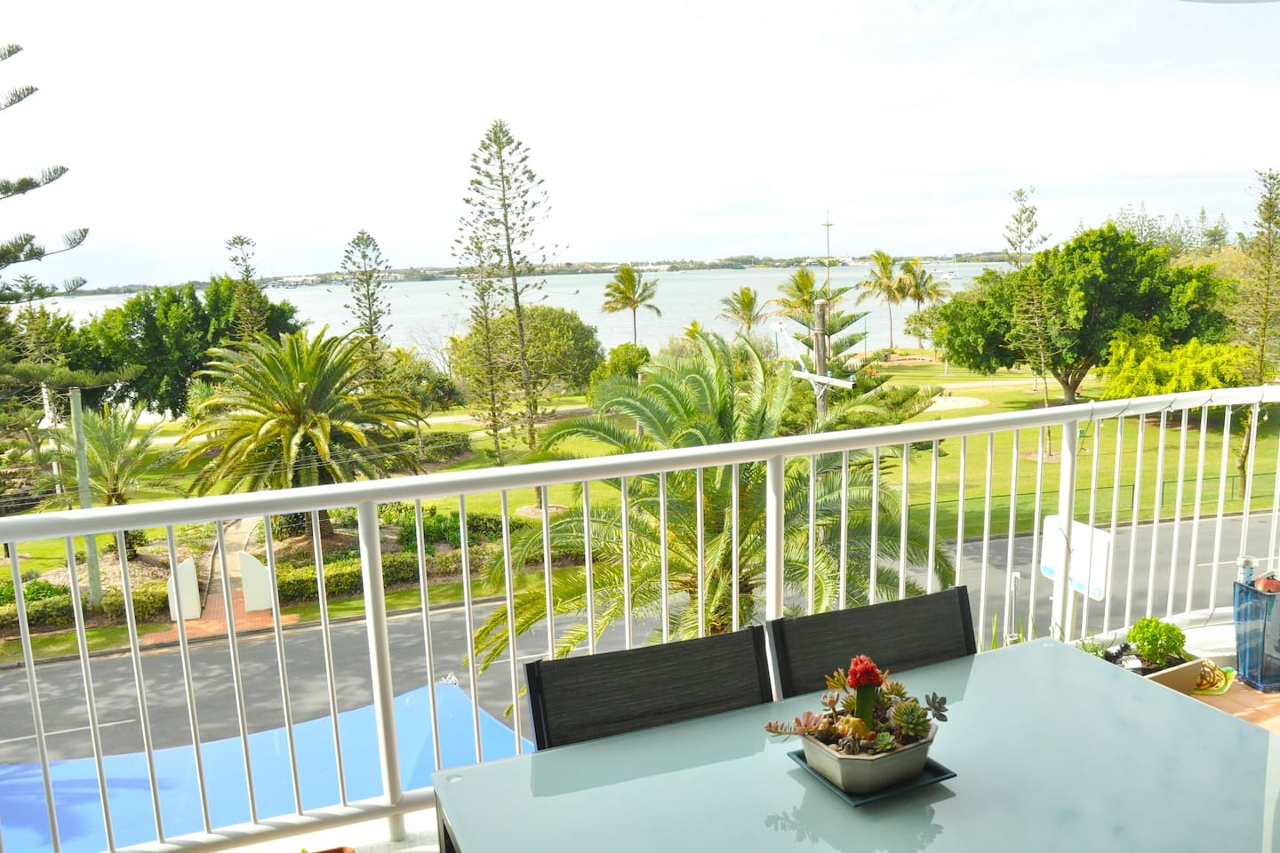 This is the great view from the verandah. A hop, skip and a jump literally from the water