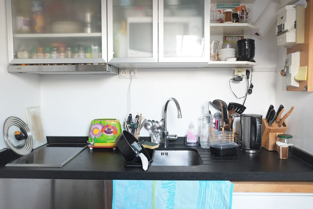 this is the kitchen, there is also a little washing machine