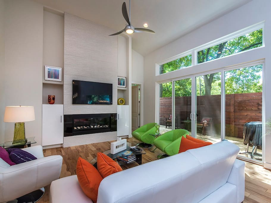 living room with view of deck