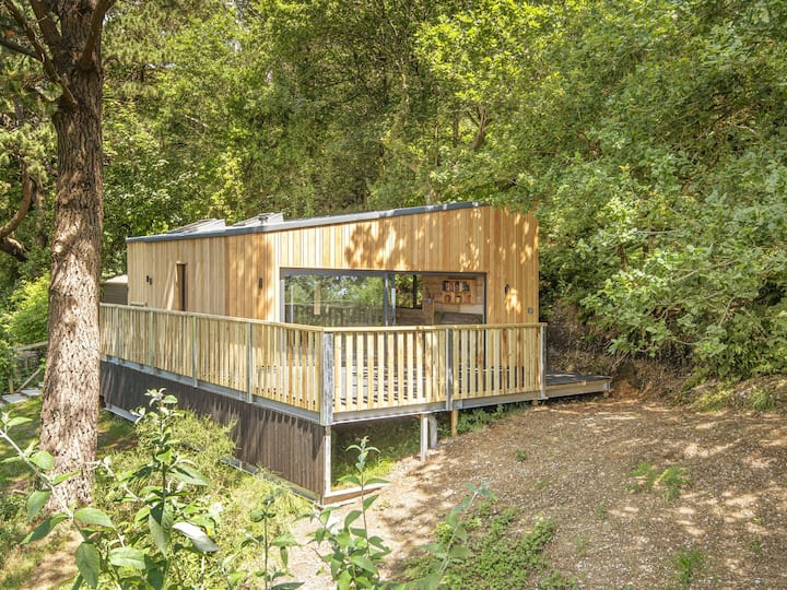 Cosy woodland chalet close to Jurassic Coast.