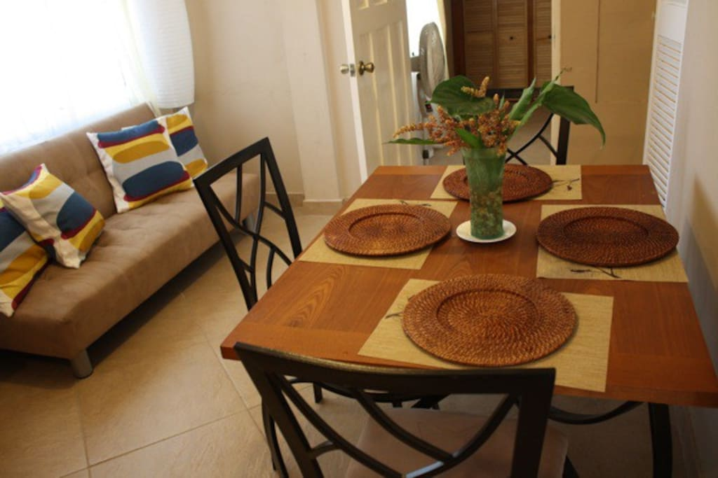 Your personal dining/living/kitchen space. Dine in comfort and Caribbean style.