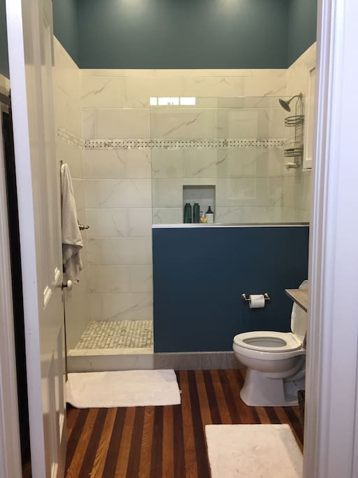 Bathroom with beautiful original hardwoods, huge shower, and w/d closet (behind door).