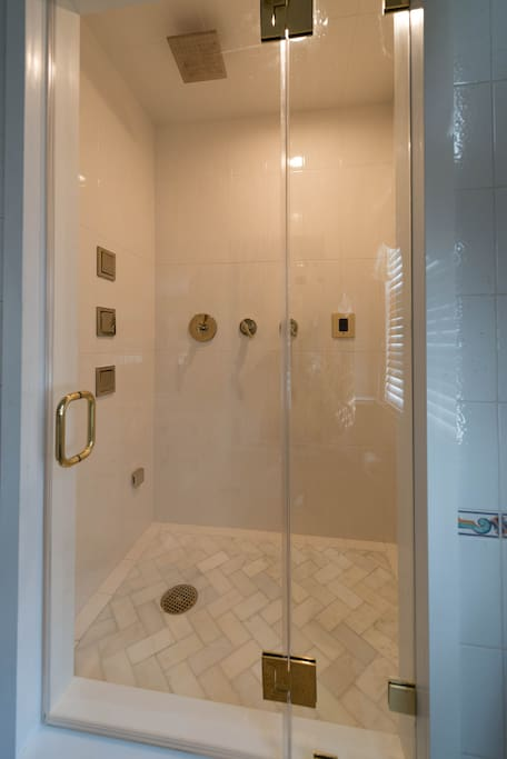 Walk-In Shower and Steam Room w/ Body Sprays and Overhead Rain Spray.