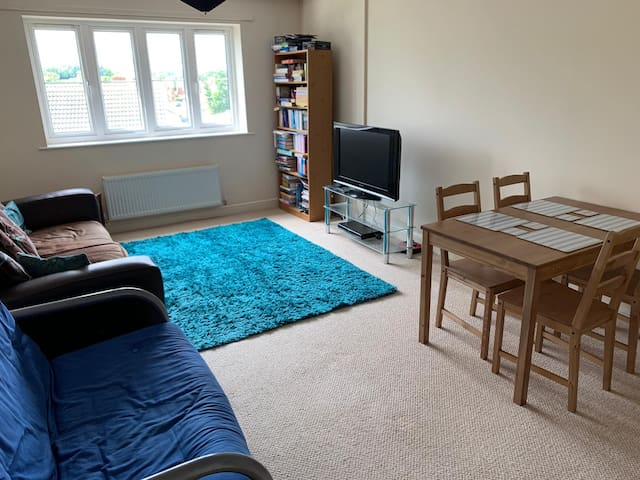 Living room and dining area.