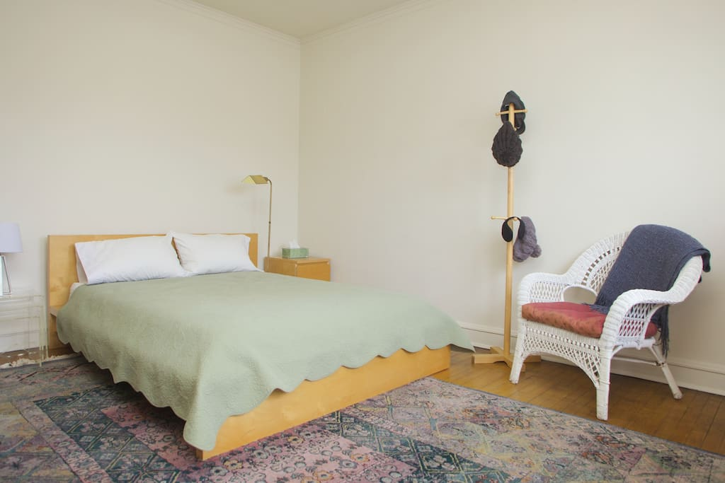 Bedroom has a comfortable queen bed, large 4-drawer chest and a closet with dozens of hangers.