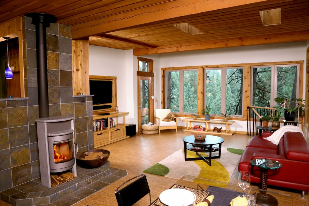 The open floor plan in the main living area is filled with natural light.