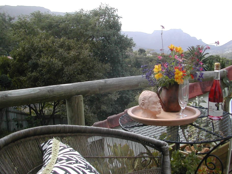 Private Balcony with a stunning view of the surrounding tree tops and mountain range
