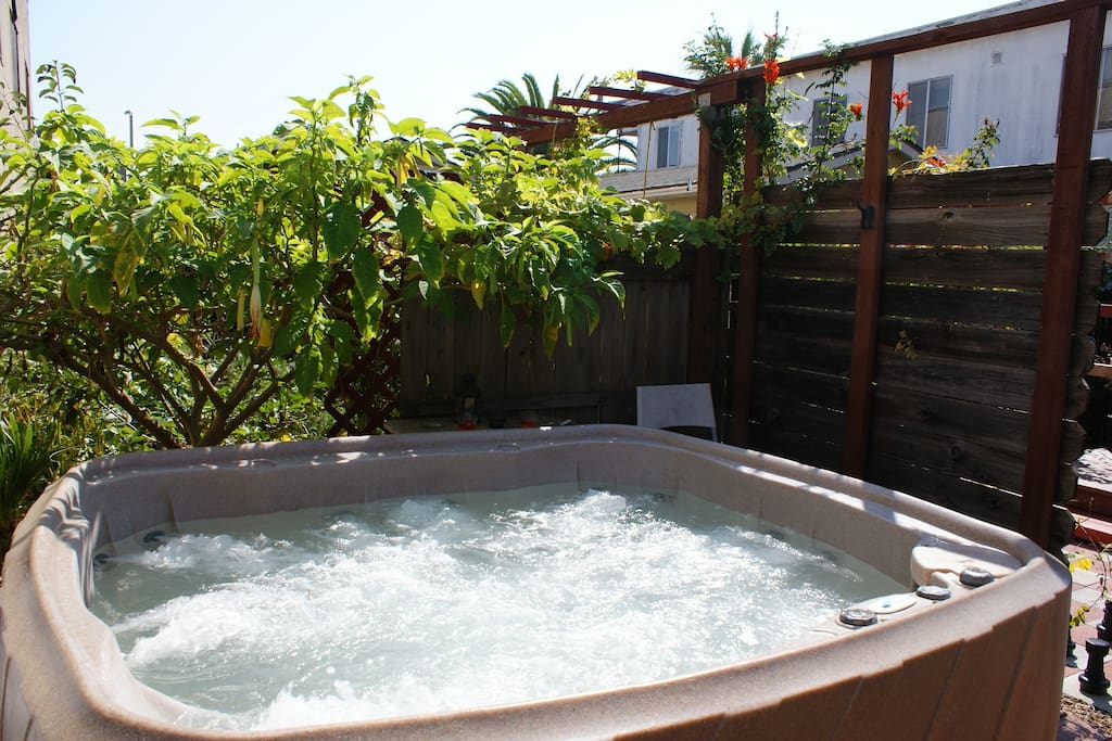 Relax in the hot tub after exploring the Bay.