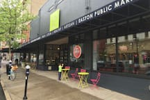 Easton Public Market, indoor market, has been open for just three years but is one of the great urban renewal stories of our city! With a grocery, butcher, bakery, craft beers, wood fire pizza , Ramen bar and more you will find what you need Wed-Sun.