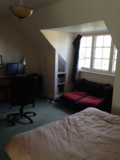 Double bedroom, view of cricket ground