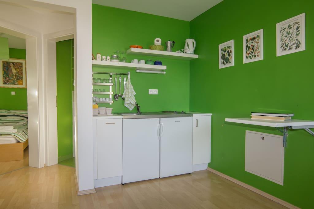 The kitchenette.