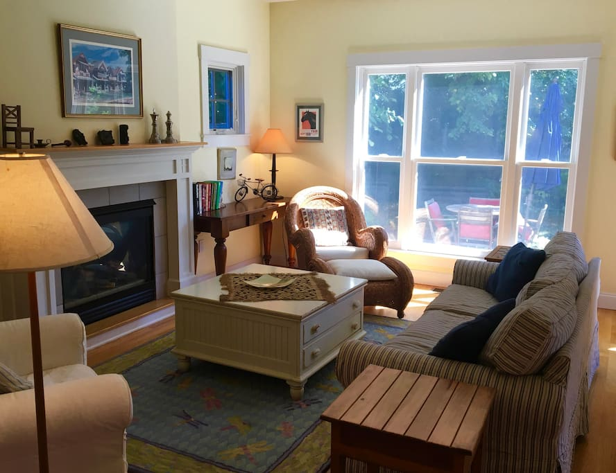 The cozy living room with gas fireplace