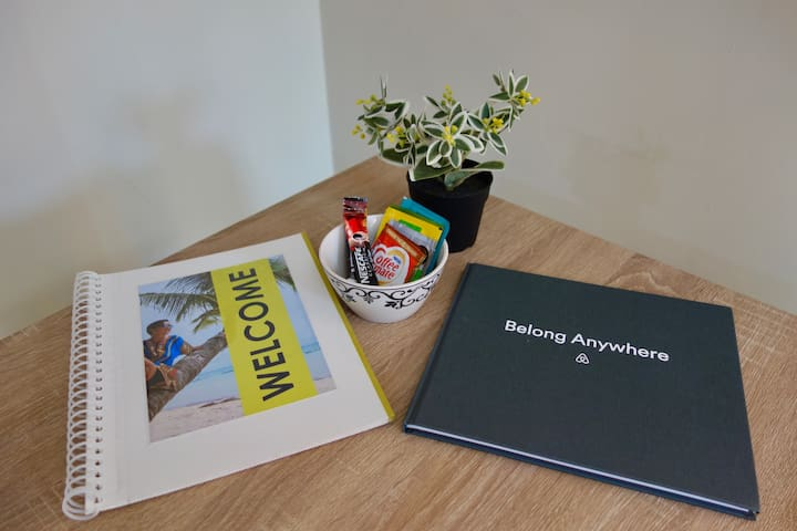 """Here is a """"Welcome Book"""" that I made and poured time, effort and LOVE.   And here is a GIFT from Airbnb for being a kind HOST. Please help me fill this up. Leave me a note of thanks!  Guestbook: A record of my new friends who stayed at my HOME."""