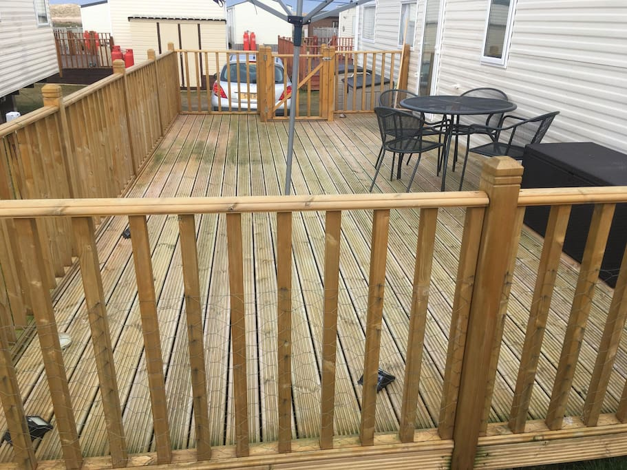 Decking at entrance to caravan