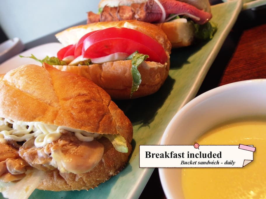 we have a free breakfast,sandwich or tortilla by today's menu