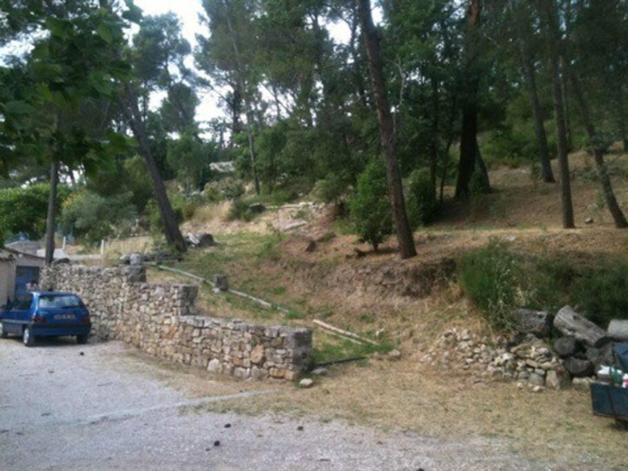 colline chênes et pins, barbecue dans mur de pierre