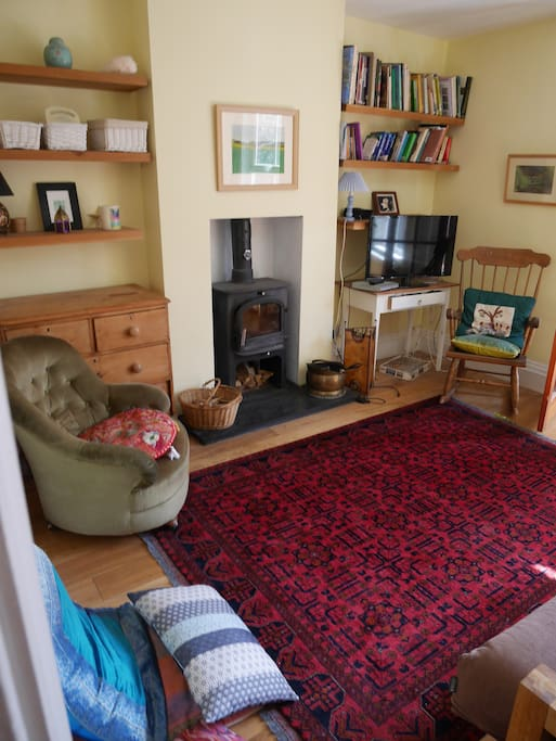 Living room with TV,  sofa bed, woodburning stove (logs provided)