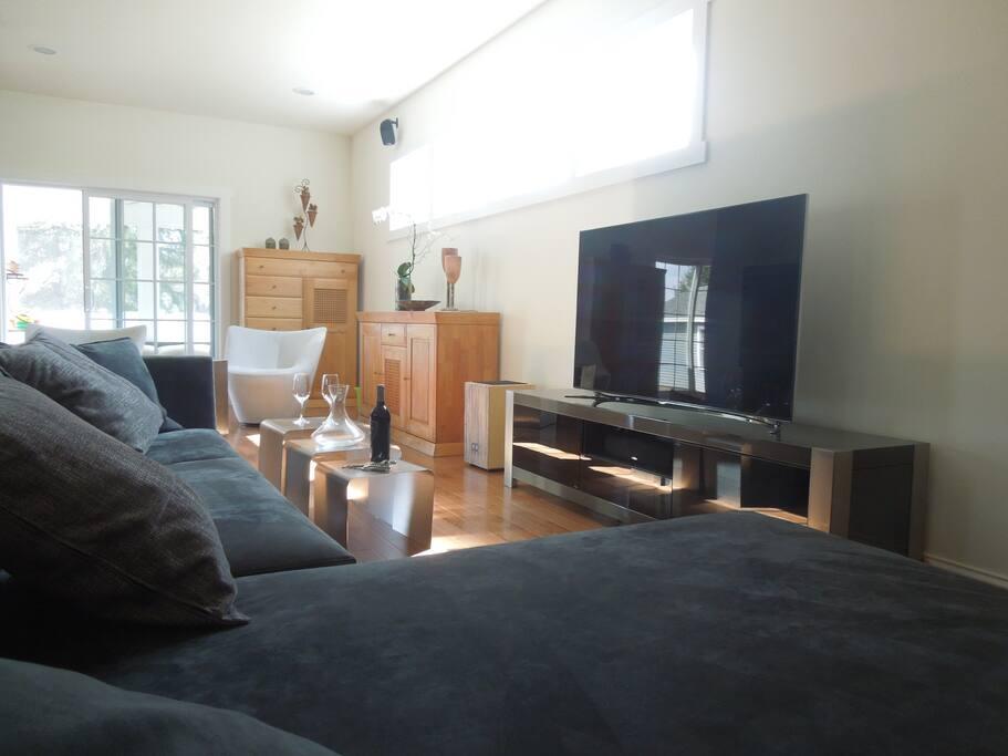 Living room, 60' TV
