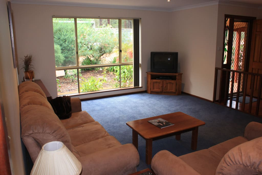 Comfortable lounge area with TV/DVD player and board games.