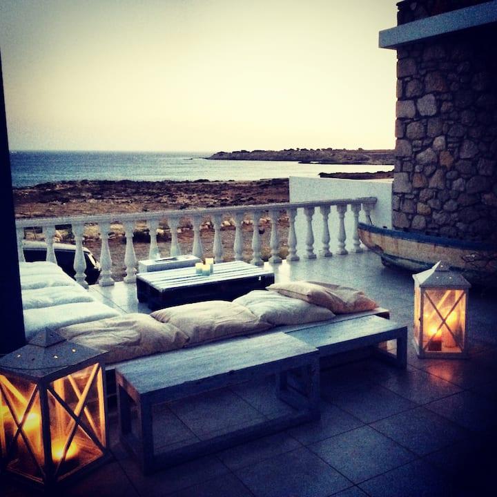 Stone villa on private beach