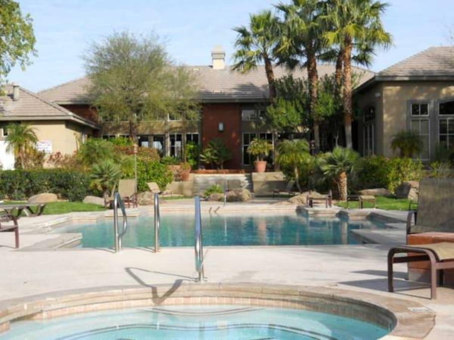 Hot Tub facing heated pool and club house