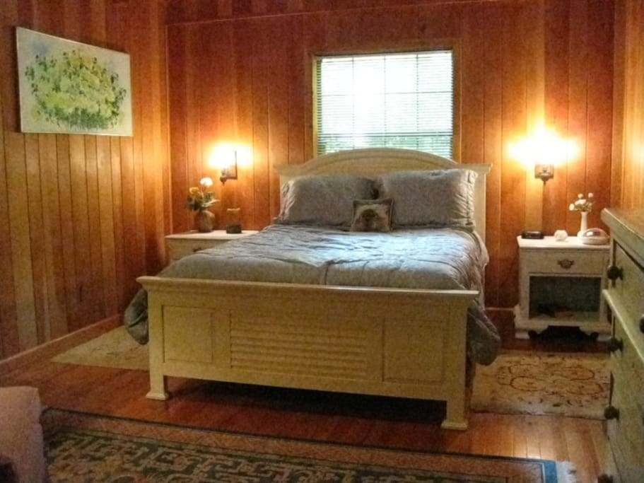 Master bedroom with cathedral ceiling queen size bed