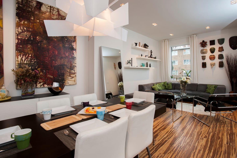 Lovely art gallery inspired living area.