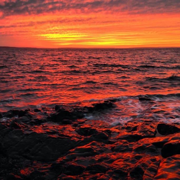 Sunset, looking towards Swan's Island